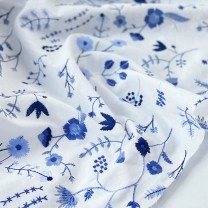 Fabric / fabric / handmade DIY fabric cotton Blue flower on white background (50 * 125cm) Whole volume piece Plants and flowers jacquard weave Other hand-made DIY fabrics Countryside Flower girl's little bag 81% (inclusive) - 90% (inclusive) Zhejiang Province Hangzhou Chinese Mainland