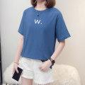 T-shirt Pink [W. letter], blue [W. letter], black [W. letter], red [W. letter], yellow [W. letter], purple [W. letter], green [W. letter] M suggests 80-110kg, l 110-130kg, XL 130-155kg, 2XL 155-180kg, 3XL 180-210kg, 4XL 210-240kg Summer 2021 Short sleeve Crew neck easy routine commute cotton letter