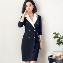 Dress Autumn of 2018 Dress S,M,L,XL,2XL Mid length dress singleton  Long sleeves commute V-neck High waist Solid color double-breasted A-line skirt Others 25-29 years old AI Shangchen Ol style More than 95% polyester fiber