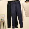Women's large Autumn of 2019 Dark blue black trousers singleton  commute Self cultivation moderate Solid color Korean version Melanie pocket Other 100% Pure e-commerce (online only) trousers
