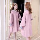 Dress Gu Mengyu Sky blue, lotus root pink M,L,XL,XXL Korean version Long sleeves Medium length spring Lapel Solid color cotton