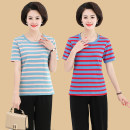 Middle aged and old women's wear Summer of 2019 Red stripe, pink stripe, blue stripe XL,2XL,3XL,4XL leisure time T-shirt easy singleton  stripe Socket thin Crew neck routine Cotton Striped T-shirt Cotton, others 96% and above Short sleeve