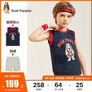 suit Hush Puppies / Hush Puppies Ben white ice crystal blue deep navy cherry red 105cm 110cm 120cm 130cm 140cm 150cm 160cm 170cm male summer leisure time Sleeveless + pants 2 pieces routine There are models in the real shooting Socket nothing Cartoon animation cotton HPPXBD12CA668 Class B Cotton 100%