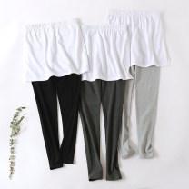 Leggings Autumn 2020 Light grey, dark grey, black Average size routine trousers 25-29 years old pure cotton 91% (inclusive) - 95% (inclusive)