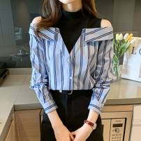 Lace / Chiffon Spring 2021 stripe S M L XL 2XL Long sleeves commute Socket singleton  Straight cylinder Regular Crew neck stripe routine 25-29 years old Create color ZLY8112 Three dimensional decorative button Korean version Polyester 100% Pure e-commerce (online only)