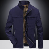 Jacket ZHAN DI JI PU Fashion City Khaki dark blue M L XL 2XL 3XL 4XL routine standard Other leisure Four seasons Polyester 100% Long sleeves Wear out stand collar Business Casual youth routine Zipper placket Cloth hem washing Loose cuff Solid color polyester fiber Spring of 2018 Epaulet Zipper bag