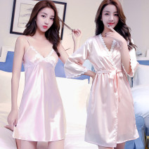 Nightdress Fairy Rolland S M L XL XXL sexy three quarter sleeve Middle-skirt spring Solid color youth V-neck Polyester (polyester) lace More than 95% silk E1701-8 Spring of 2018 Polyester 96% polyurethane elastic fiber (spandex) 4% Pure e-commerce (online only)