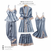 Pajamas / housewear set female Fairy Rolland M L XL XXL Polyester (polyester) Long sleeves Simplicity Leisure home summer Thin money V-neck Solid color trousers Tether youth rubber string More than 95% silk lace Polyester 96% polyurethane elastic fiber (spandex) 4% Summer 2020 Middle-skirt