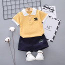 suit Colored pig male summer leisure time Short sleeve + pants 2 pieces routine Socket nothing other Cotton blended fabric X57 Summer of 2018 3 months 6 months 12 months 9 months 18 months 2 years 3 years 4 years old