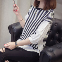 T-shirt White black S M L XL Summer of 2018 elbow sleeve Crew neck easy Regular puff sleeve commute other 96% and above 18-24 years old originality Thin horizontal stripe stitching Vitelli Splicing Other 100% Pure e-commerce (online only)