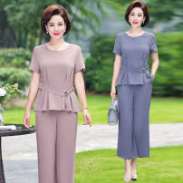 Middle aged and old women's wear Summer of 2019 fashion suit easy Two piece set other 40-49 years old Socket thin other have cash less than that is registered in the accounts other Love shini Nail bead other Other 100% 96% and above Pure e-commerce (online only) Ninth pants