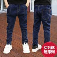 trousers Bei Xilong male 110cm 120cm 130cm 140cm 150cm 160cm 170cm spring and autumn trousers leisure time There are models in the real shooting Jeans Leather belt middle-waisted Cotton elastic denim Don't open the crotch Cotton 95% polyurethane elastic fiber (spandex) 5% XM670 Class B Spring 2020