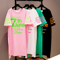 T-shirt Pink, cream, green, black Average size Summer 2021 Short sleeve Crew neck easy Medium length raglan sleeve commute cotton 86% (inclusive) -95% (inclusive) 25-29 years old Korean version youth Letters, stitching H636 Printing, splicing