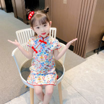 cheongsam 90 100 110 120 130 Red Zhaocai dog cheongsam Polyester 100% Bullet baby There are models in the real shooting summer Cartoon animation DWBB1441 Summer 2021 12 months, 18 months, 2 years old, 3 years old, 4 years old, 5 years old, 6 years old