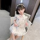 Dress Butterfly cheongsam skirt - White butterfly Qipao skirt - Pink female Bullet baby 80cm 90cm 100cm 110cm 120cm 130cm Polyester 100% summer Korean version Short sleeve Broken flowers cotton A-line skirt DWBB1505 Summer 2021