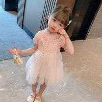 Dress Plaid Dress - Pink female Bullet baby 90cm 100cm 110cm 120cm 130cm Other 100% summer Korean version Short sleeve lattice cotton A-line skirt DWBB1423 Summer 2021 12 months 9 months 18 months 2 years 3 years 4 years 5 years 6 years old