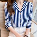 Lace / Chiffon Summer 2021 Blue, black [skirt] S,M,L,XL,2XL Short sleeve commute Cardigan singleton  easy Regular V-neck Solid color routine 25-29 years old 1781# Pleats, buttons Korean version 96% and above polyester fiber