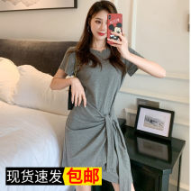 Dress Summer 2020 Grey, black, safety Pants White S,M,L,XL,2XL Middle-skirt singleton  Short sleeve Sweet Crew neck middle-waisted Solid color Socket Irregular skirt routine 51% (inclusive) - 70% (inclusive) Mori