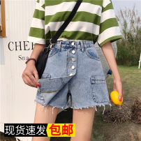Jeans Summer 2020 Light blue, brown, pre-sale S,M,L,XL shorts High waist Wide legged trousers routine 18-24 years old washing light colour 51% (inclusive) - 70% (inclusive)