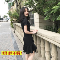 Dress Summer of 2019 black S. M, l, XL, 2XL, XXXs pre-sale Middle-skirt singleton  Short sleeve commute Crew neck High waist Solid color Socket Irregular skirt routine Others Type A Other / other Korean version Lotus leaf edge 51% (inclusive) - 70% (inclusive)