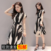 Dress Summer of 2018 M,L,XL,2XL,3XL Mid length dress singleton  Short sleeve commute Crew neck High waist stripe Socket Lantern skirt Flying sleeve Others 18-24 years old Type A Other / other Korean version 31% (inclusive) - 50% (inclusive) Chiffon cotton
