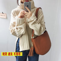sweater Winter of 2019 Average size Apricot, black, doghead T-shirt Long sleeves Socket singleton  other 51% (inclusive) - 70% (inclusive) High collar Regular commute routine Solid color Straight cylinder 18-24 years old Other / other Single breasted