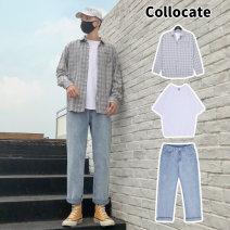 Leisure sports suit autumn 27(M+M) 28(M+M) 29(L+L) 31(XL+XL) 32(XL+XL) 33(2XL+2XL) 34(2XL+2XL) S(S+S) M(M+M) L(L+L) XL(XL+XL) 2XL(2XL+2XL) 30(L+L) Long sleeves WVB Ninth pants teenagers shirt WVB-T8806 cotton Summer 2020 Cotton 35.5% polyester 64.5%