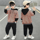 suit Kubitong Orange light grey 110cm 120cm 130cm 140cm 150cm 160cm male spring and autumn leisure time Long sleeve + pants 2 pieces routine There are models in the real shooting Socket No detachable cap lattice cotton children Expression of love TZ2167 Class B Spring 2021 Chinese Mainland