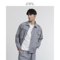 Jacket J.D.V Fashion City dark grey thick standard Other leisure spring Long sleeves Lapel youth routine Single breasted Spring 2021 Same model in shopping mall (sold online and offline) polyester fiber 80% (inclusive) - 89% (inclusive)