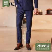 Western-style trousers J.D.V Business gentleman Blue and white stripes trousers Slim fit spring go to work youth Spring of 2018 Pure e-commerce (online only)