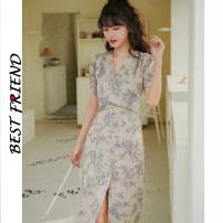 Dress Summer 2020 Elegant purple S,M,L Middle-skirt singleton  Short sleeve commute V-neck High waist Decor zipper 18-24 years old Retro 81% (inclusive) - 90% (inclusive)