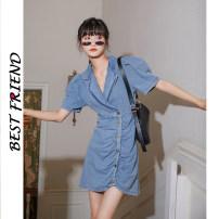 Dress Summer 2020 blue S,M,L Middle-skirt singleton  Short sleeve commute other 18-24 years old Korean version