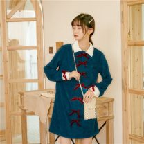 Dress Spring 2020 blue S,M,L Middle-skirt Long sleeves commute middle-waisted other Type H Retro