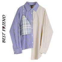 shirt Blue and yellow S, M Spring 2021 polyester fiber 71% (inclusive) - 80% (inclusive) Long sleeves street Regular square neck Single row multi button routine stripe Straight cylinder Stitching, asymmetry, buttons Europe and America