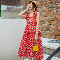 Dress Summer 2020 Safflower S, M Miniskirt singleton  Sleeveless Sweet One word collar Loose waist Decor Socket Big swing camisole Type H Lotus leaf, open back, Auricularia auricula, three-dimensional decoration, printing 31% (inclusive) - 50% (inclusive) other polyester fiber solar system