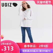 T-shirt White / wt Black / BK F Spring 2021 Long sleeves Crew neck Straight cylinder Regular routine commute other 96% and above 25-29 years old Korean version other UGIZ UATE801 Other 100% Pure e-commerce (online only)