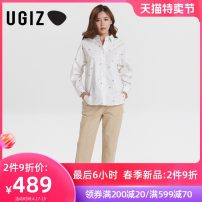 shirt White / wt S M Spring 2021 cotton 96% and above Long sleeves commute Regular tailored collar Single row multi button routine Broken flowers 25-29 years old Straight cylinder UGIZ Korean version UASE203 Cotton 100% Same model in shopping mall (sold online and offline) pure cotton