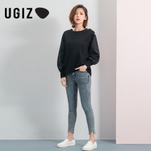 T-shirt Re black / BK red S M Spring 2020 Long sleeves Crew neck easy Regular bishop sleeve cotton 51% (inclusive) - 70% (inclusive) 25-29 years old Solid color UGIZ UATD199 Cotton 66.6% polyester 33.4% Same model in shopping mall (sold online and offline)