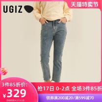 Jeans Spring 2021 indigo S M L Ninth pants Natural waist Straight pants routine 25-29 years old UGIZ Other 100% Same model in shopping mall (sold online and offline)