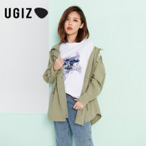 Windbreaker Autumn 2020 S M Be / BEIGE / Green Long sleeves routine Medium length commute zipper Hood letter Straight cylinder Korean version UGIZ UCFD705 18-24 years old 96% and above cotton Cotton 100% Same model in shopping mall (sold online and offline)
