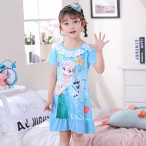 Home suit Kibby dodo summer female Cotton 50% polyester 50% cotton At home Class B 03#013# princess Chinese Mainland Guangdong Province Jieyang City Sky blue pink elf Sophia violet Sophia little girl Pikachu fruit powder Elsa