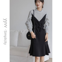 Dress Autumn 2020 black S M L Mid length dress Long sleeves commute stand collar High waist stripe Socket A-line skirt Lotus leaf sleeve Others 25-29 years old YY&VV Korean version YB3134 More than 95% polyester fiber Polyester 100%