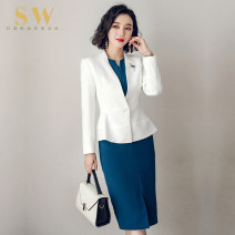Professional dress suit S [collection Brooch] m [collection Brooch] l [collection Brooch] XL [collection Brooch] XXL XXXL One piece suit one piece dress suit + dress Autumn of 2018 Long sleeves C226+Q235 Coat other styles Suit skirt 25-35 years old SW Polyester 100% Pure e-commerce (online only)