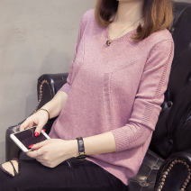 sweater Autumn of 2018 S M L XL Long sleeves Socket singleton  Regular other 95% and above V-neck Regular routine Solid color Straight cylinder Regular wool Keep warm and warm 18-24 years old Flower rain soft Other 100% Pure e-commerce (online only)