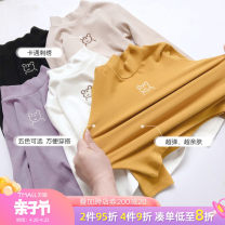 T-shirt Yellow black white light purple Beige yellow [Plush] black [Plush] white [Plush] light purple [Plush] Beige [Plush] Tongsen Tongma 90cm 100cm 110cm 120cm 130cm 140cm female spring and autumn Long sleeves Crew neck Korean version There are models in the real shooting nothing other Solid color