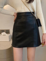 skirt Spring 2020 S,XL,2XL,L,M Black, blue, yellow commute High waist A-line skirt 18-24 years old Z424 30% and below Other / other Korean version