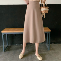 skirt Summer 2020 L, M Black, blue, apricot longuette commute High waist A-line skirt Solid color Type A 18-24 years old FWL3353 other Other / other Korean version