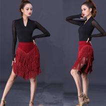 Latin bottom female Tiansiyizun Irregular skirt Rumba, Chacha, samba, cowboy, bullfight spandex 01168 S,M,L,XL,XXL,XXXL,4XL Wine red, black, red, green, silver, black 4-layer flat skirt