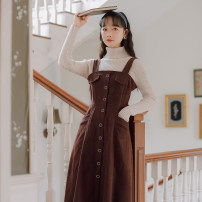 Dress Spring 2021 Khaki, apricot S,M,L longuette singleton  Sleeveless commute One word collar High waist Solid color Socket A-line skirt routine straps 18-24 years old Type A literature 31% (inclusive) - 50% (inclusive) brocade cotton