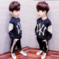 suit Smart and naughty black 100cm 110cm 120cm 130cm 140cm 150cm 160cm male spring and autumn Korean version Long sleeve + pants 2 pieces routine There are models in the real shooting Socket nothing other cotton children Giving presents at school VaGsEj Class B Autumn 2020